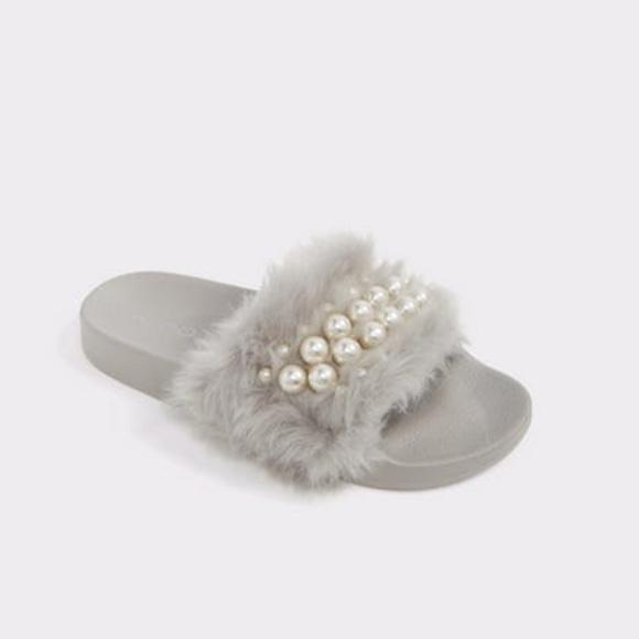 ALDO Grey Fur Pearl Slides Sandals